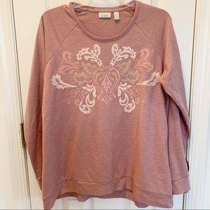 Logo Lounge Pink Embroidered Sweatshirt